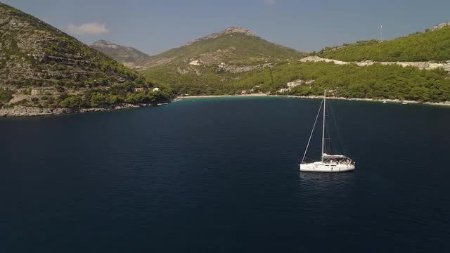 Aerial Shot Of A Sailboat: Stock Video