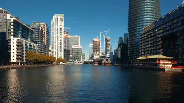 Wide Shot Of Docklands District: Stock Video