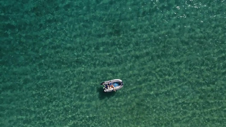 Overhead Shot Of Rubber Boat: Stock Video
