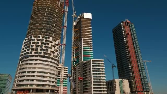 High-Rise Buildings Under Construction: Stock Video