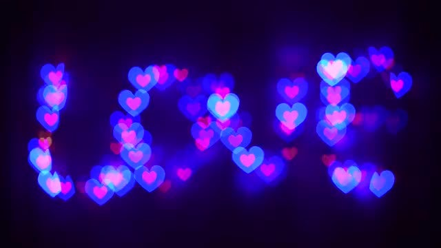 Led Lights With Moving Hearts: Stock Video