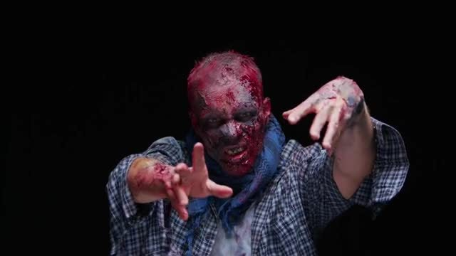 Scary Zombie Making Hand Gestures: Stock Video