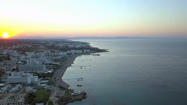 Aerial Shot Of Coastal City: Stock Video