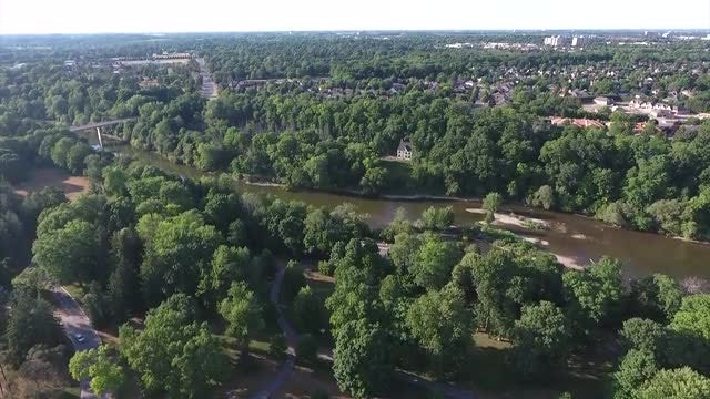 Aerial Shot Of Botanical Park: Stock Video