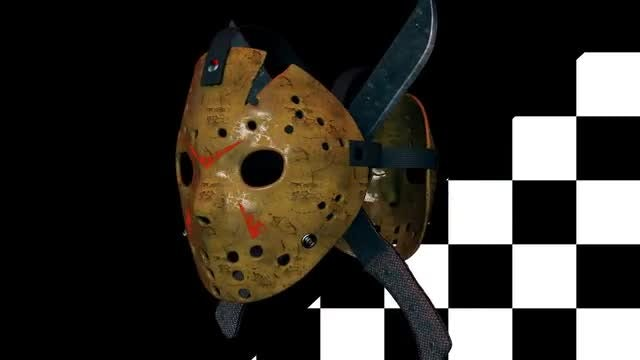 Hockey Mask With Machetes Loop: Stock Motion Graphics