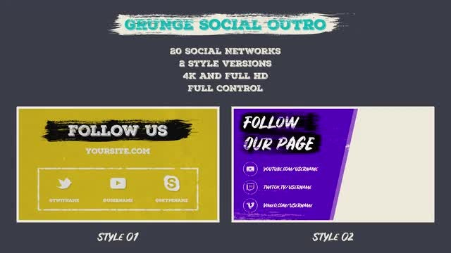 Grunge Social Outro: Motion Graphics Templates