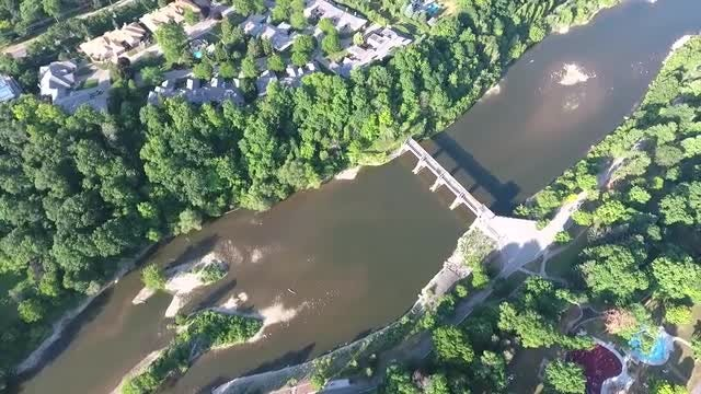 Aerial Over River And Dam: Stock Video