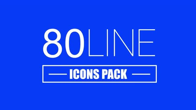 80 Self-Drawing Line Icons Pack: Stock Motion Graphics