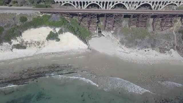 Flying Over Beach And Railway: Stock Video