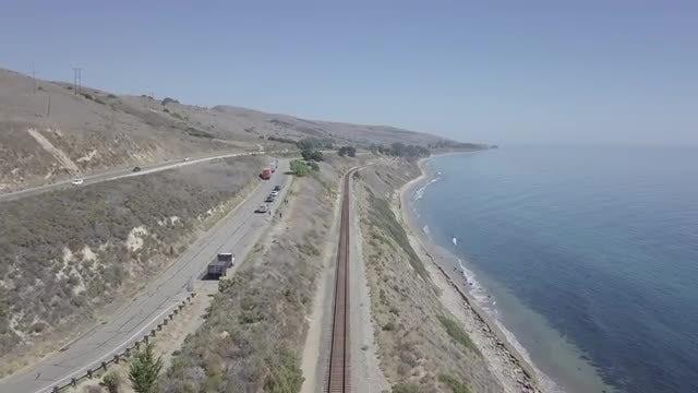 Aerial Shot Of Empty Railway: Stock Video