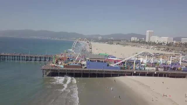 Flying Around Pacific Park Pier: Stock Video
