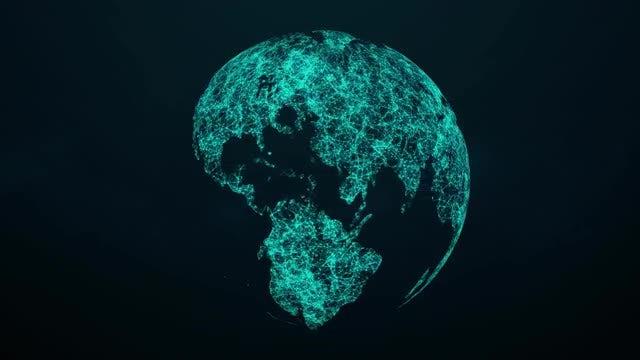 Rotating Plexus Globe 4K Loop: Stock Motion Graphics