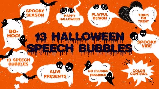 13 Halloween Speech Bubbles: After Effects Templates