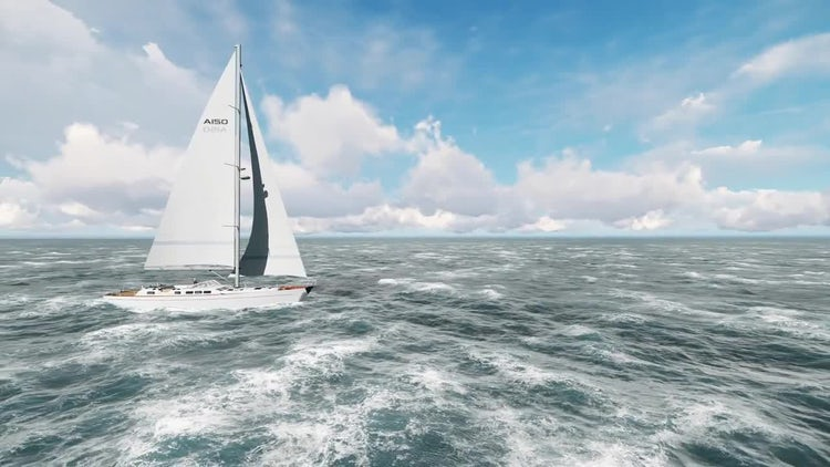 Yacht Sailing On An Open: Stock Motion Graphics