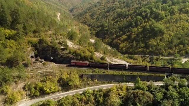 Mountain Landscape With Train: Stock Video