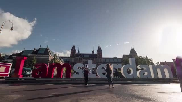 Time Lapse Of Amsterdam Slogan: Stock Video