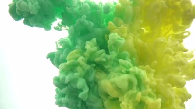 Green - Yellow Paints In Water: Stock Video