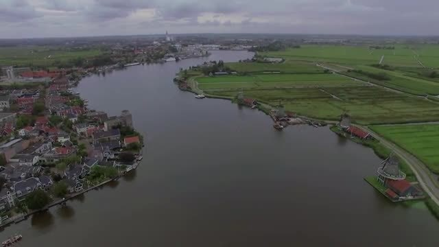 Netherlands River Town And Fields: Stock Video