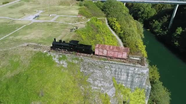 Aerial Shot Of Broken  Railway: Stock Video
