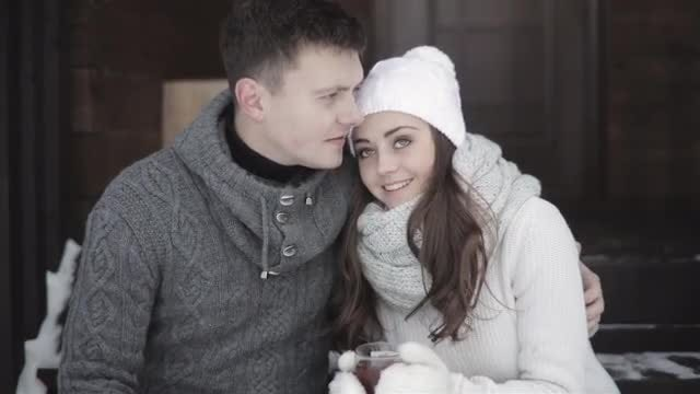 Couple Drinking Tea In Winter: Stock Video