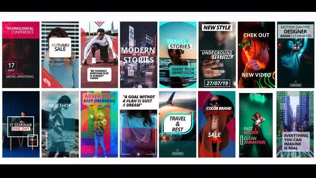 16 Instagram Stories: Premiere Pro Templates