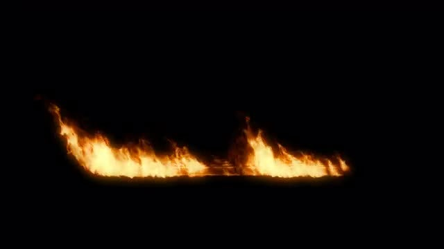 Row Of Fire Blazing: Stock Motion Graphics