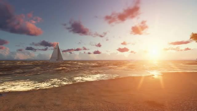 Beautiful Ocean Beach at Sunset: Stock Motion Graphics