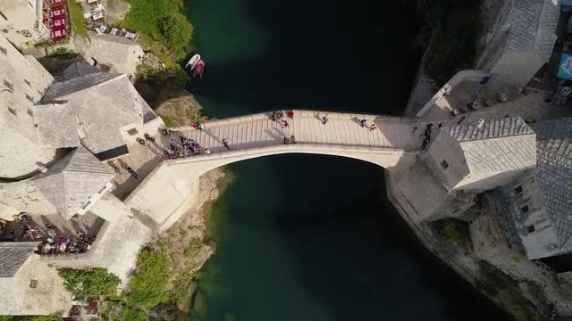 Aerial Shot Of Old Bridge: Stock Video