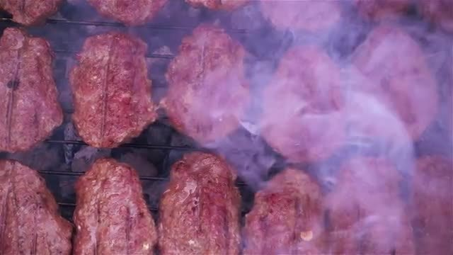 Overhead Shot Of Smoky Barbecue: Stock Video