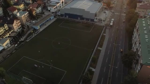 Aerial Shot Of Soccer Pitch: Stock Video