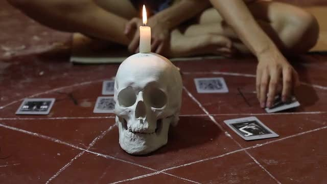 Fortune Teller Performing Black Magic: Stock Video