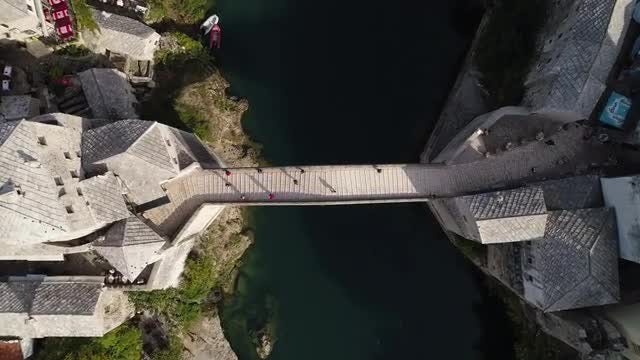 Overhead Shot Of Stari Most: Stock Video