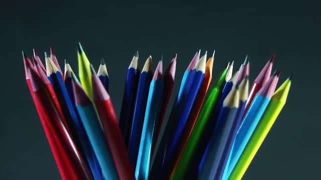 Colorful Wooden Pencils Rotating: Stock Video