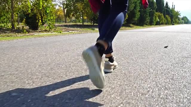 Woman Walking On The Street: Stock Video