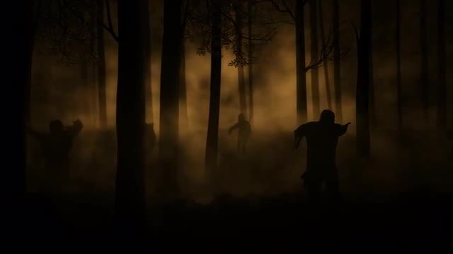 Zombies Walking In Woods: Stock Motion Graphics