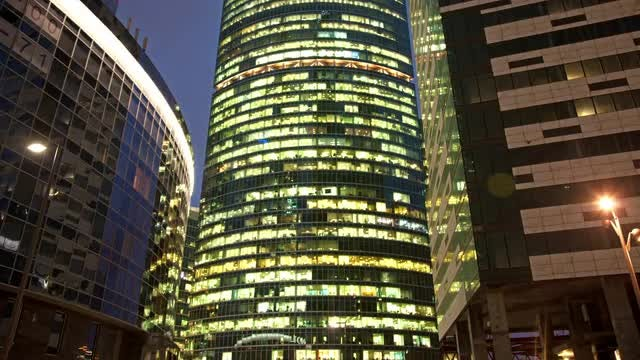Modern Business Center At Night: Stock Video
