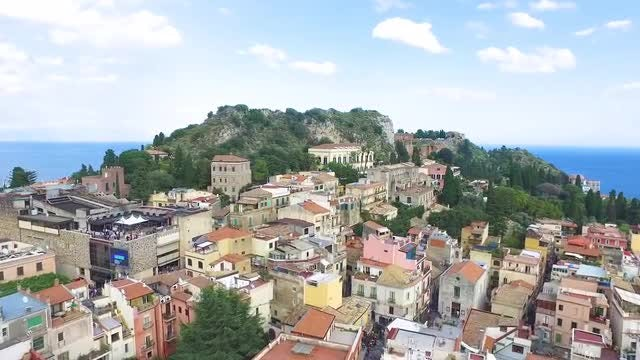 Aerial Shot Of Taormina Village: Stock Video