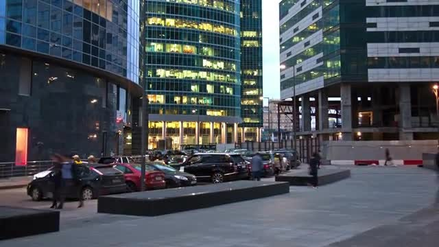 Time Lapse Of Business District.: Stock Video