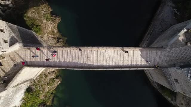 Aerial Shot Of Mostar Bridge: Stock Video