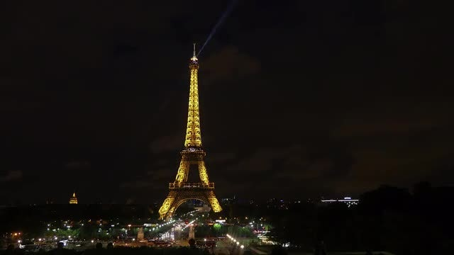 Eiffel Tower Enchanting At Night: Stock Video