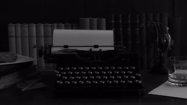 Vintage Typewriter In Dark Room: Stock Video