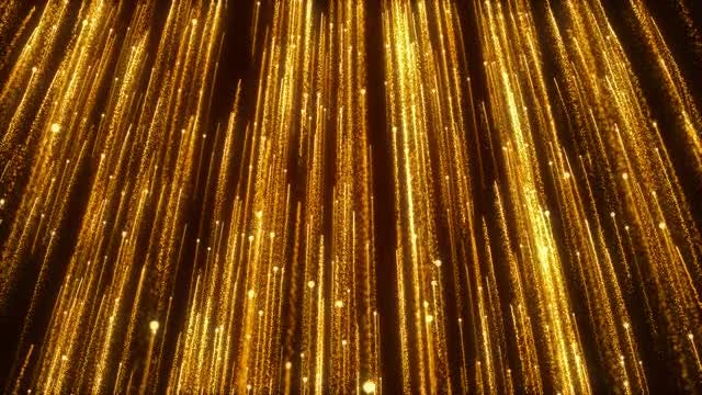 Gold Shiny Particle Streaks Rising: Stock Motion Graphics