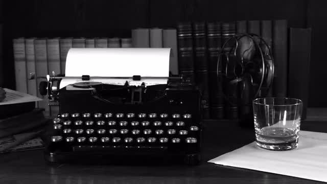 Vintage Typewriter And Electronic Fan: Stock Video