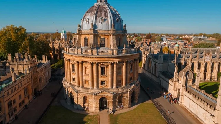 Aerial Wide Shot Of Oxford University: Stock Video
