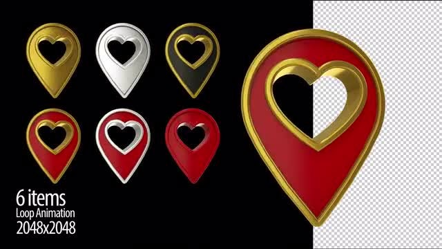 Heart Location 3D Icon: Stock Motion Graphics