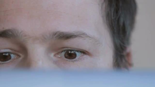 Close-up Shot Of Man's Eyes: Stock Video