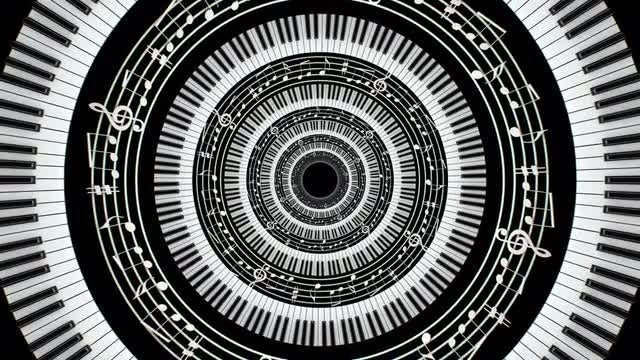Circular Piano Keys Expanding: Stock Motion Graphics