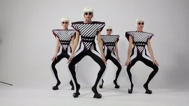 Ladies Dance Futuristic-Themed Choreography: Stock Video