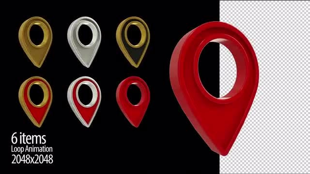 3d Location Icon Loop Animation: Stock Motion Graphics