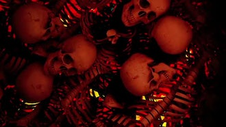Side Moving Wall Of Skulls: Motion Graphics
